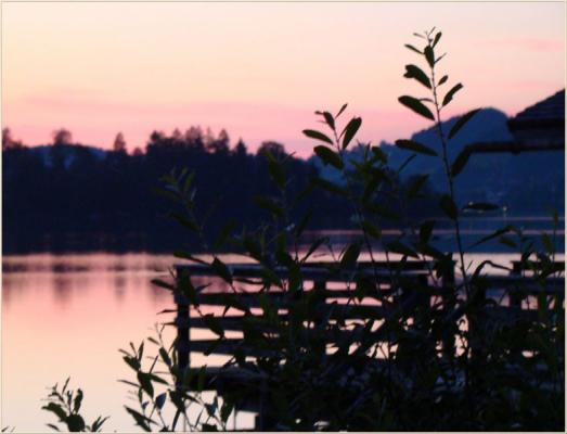 Ferienwohnung am Schliersee mit Bergblick Abenddämmerung