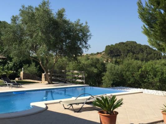 Romantische Naturstein Finca auf Mallorca Swimmingpool mit Bäumen