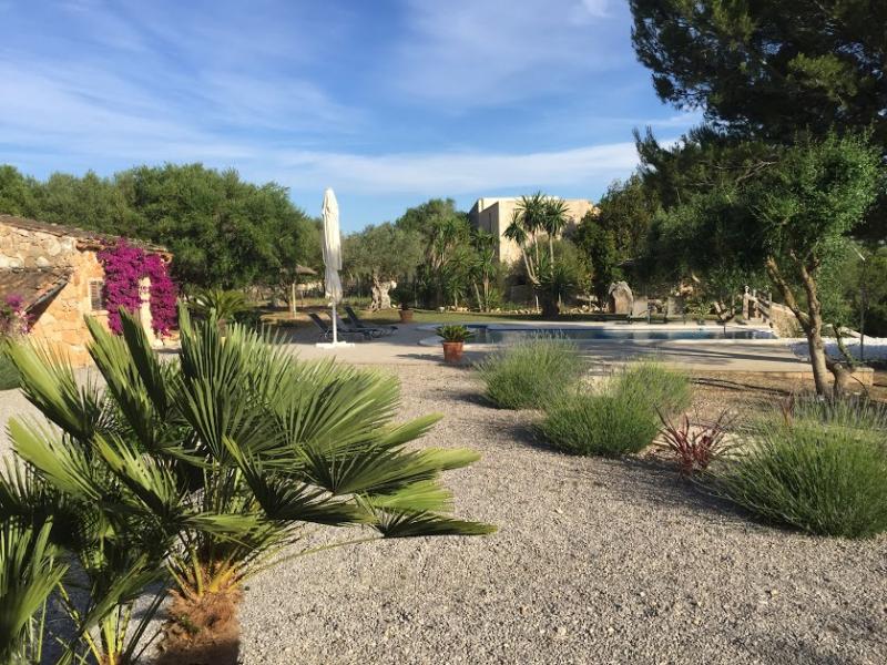 Romantische Naturstein Finca auf Mallorca Sträuchr