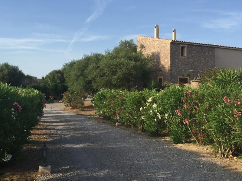 Romantische Naturstein Finca auf Mallorca Hausfront mit Sträuchern