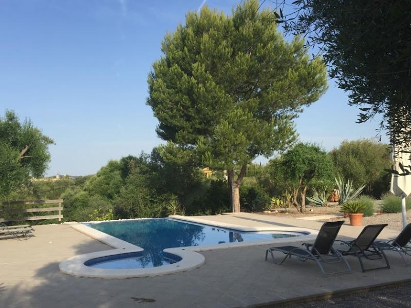 Romantische Naturstein Finca auf Mallorca Garten mit Baum